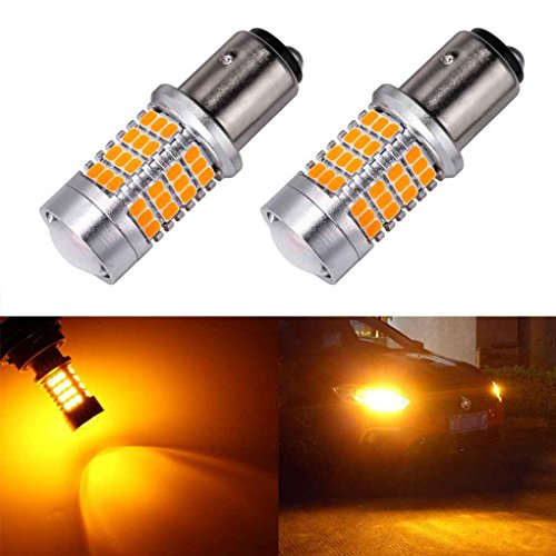 Minzhi 2PCS 1157 54SMD Car Turn Signals Automobile LED Yellow Light Bulb Car Direction Indicator Lamps Set by Minzhi