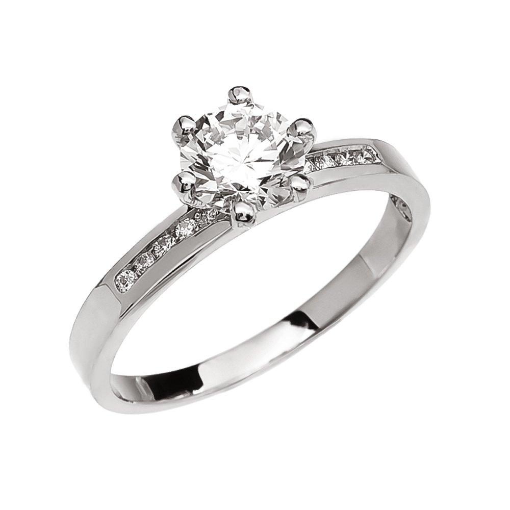 14k White Gold Channel-Set Diamond Engagement Proposal Ring With 1 Carat White Topaz Solitaire Centerstone (Size 11.5)