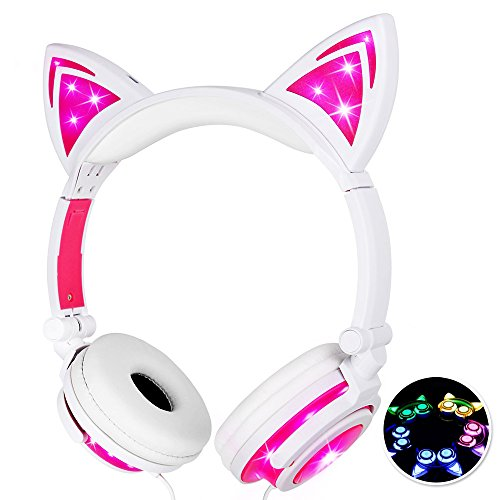 Baztoy Kids Headphones with Cat Ear Adjustable LED Lights Wired On-ear Rechargeable Headsets 85dB Volume Limited 3.5 mm Jack for Children Halloween and Christamas Gift(Pink)