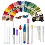 Arts & Crafts : Magic Embroidery Pen, HUAYF Embroidery Stitching Punch Needles Craft Tool Set Including 50 Color Threads for DIY Sewing Cross Stitching and Knitting Sewing Tool