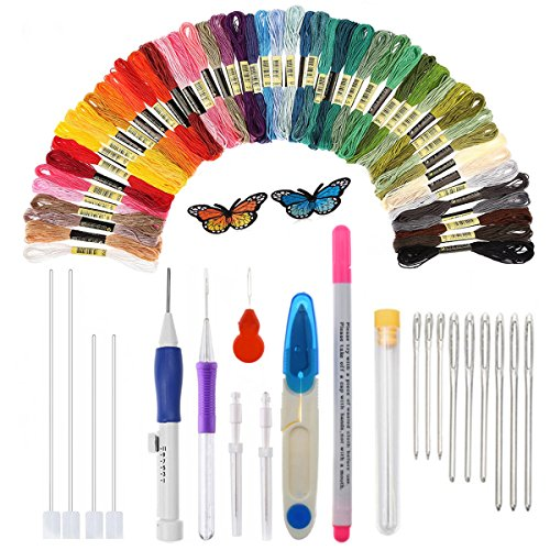 Magic Embroidery Pen, HUAYF Embroidery Stitching Punch Needles Craft Tool Set Including 50 Color Threads for DIY Sewing Cross Stitching and Knitting Sewing Tool