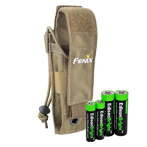 Fenix ALP-MT Holster (Khaki) Holster for PD35, LD12, LD22, E35UE, UC30, TK15C, EC20 with EdisonBright AA/AAA Alkaline Battery Sampler Pack