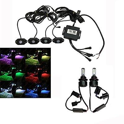 Lantsun LED RGB Rock Lights&CREE Chips LED Headlight Conversion Kit