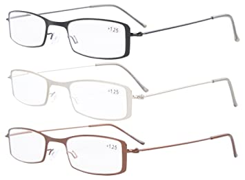 b27e814113f Eyekepper 3-Pack Stainless Steel Frame Half-Eye Style Reading Glasses  Readers +0.75