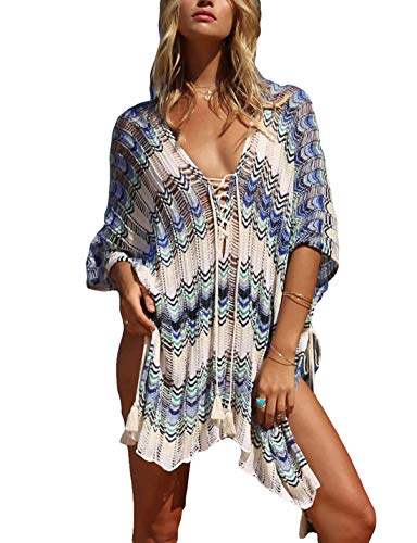 Ailunsnika Women V Neck Lace Up Crochet Knitted Bikini Tunic Dress Loose Hollow Side Slit Swimsuit Cover Up