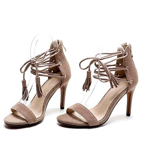 de apricot glands tissu Rome sandales sport Hauts sur fines de dames chaussures été nouveau bandage velours de talons femme w6U7vI