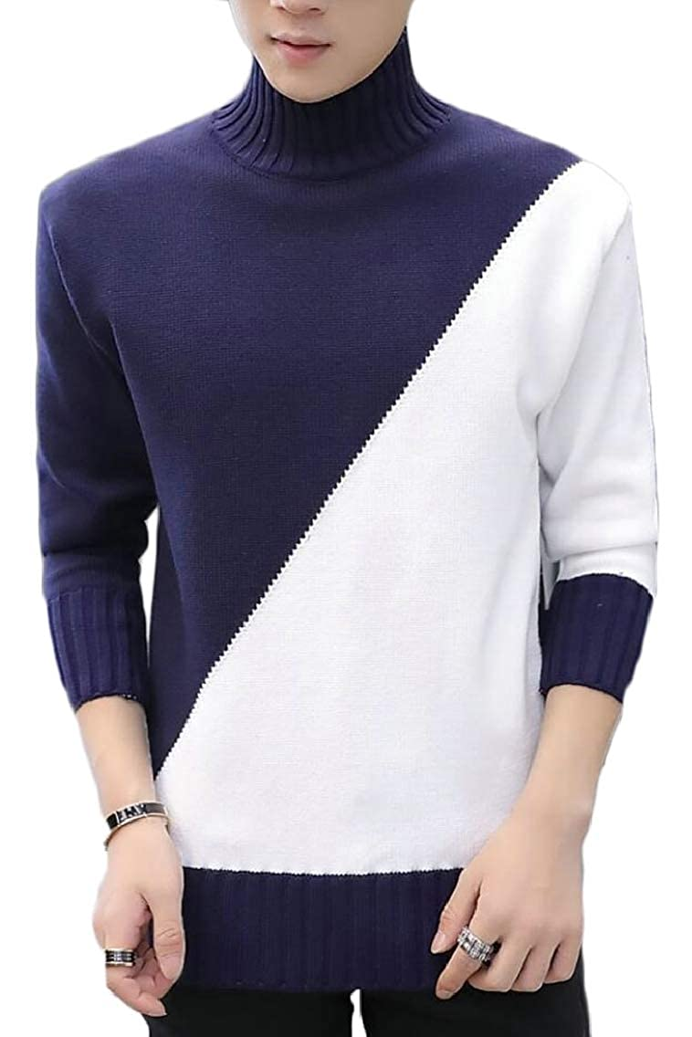 Jmwss QD Mens Color Stitching Fashion Knitted Slim Warm Turtleneck Pullover Sweaters