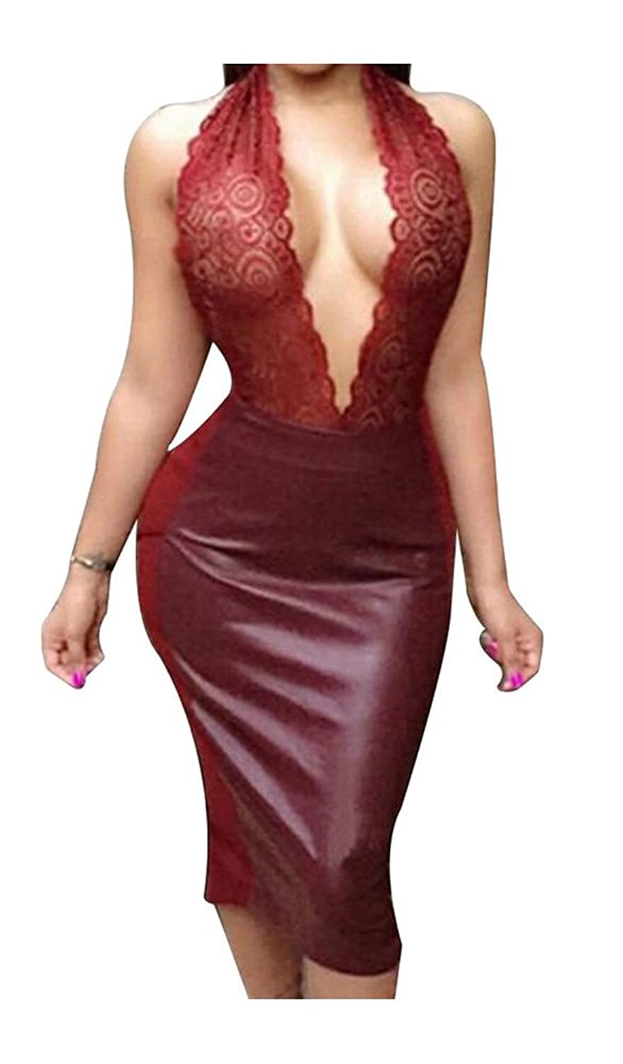 Haogo Womens Sexy Deep V Neck Halter Cocktail Prom Party Dress Clubwear
