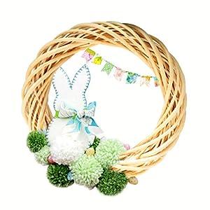FunPa Easter Wicker Wreath, 18 Inch DIY Rattan Circular Willow Wreath Natural Decorative Wicker Garland for Kids DIY Present Easter Front Door Decoration 100