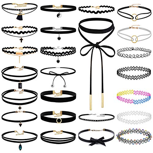 Lolita Jewelry (Paxcoo 25Pcs Black Chokers Necklaces Velvet Tattoo Neck Cute Chocker for Women Ladies Teen Girls Christmas Valentine's Day Happy New Year and Other Festival Gift)