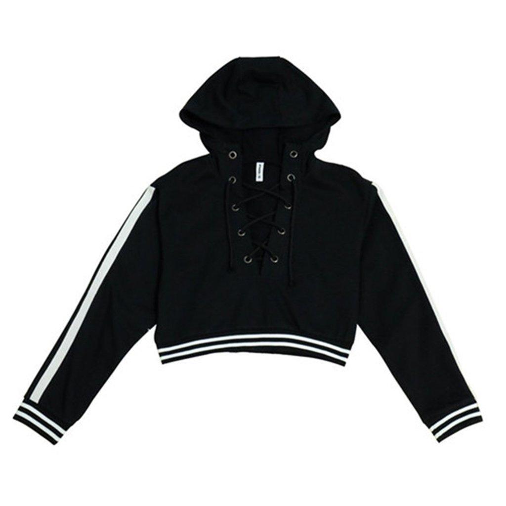 Filles strappy court chandail à capuchon lâche grande taille étudiant veste sauvage veste ( Color : Black , Size : S )
