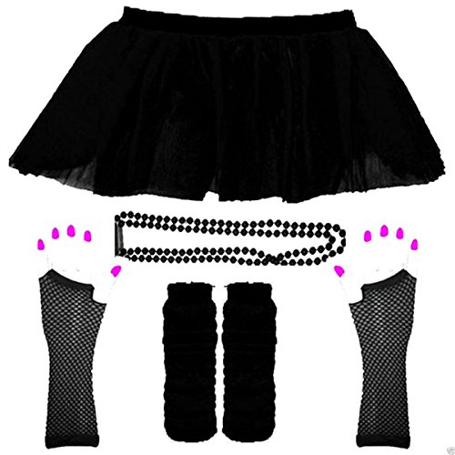 1980s NEON UV FANCY DRESS HEN PARTY TUTU FISHNET SKIRT GLOVES LEG WARMER & BEADS (UK 16-22, - Uv Dresses Uk