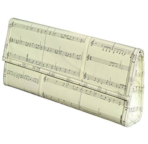 Clutch purse using musical notes sheet - Free shipping - upcycled eco friendly art design vegan style recycled reclaimed salvaged handmade organic gift gifts bag musician violin piano player scores