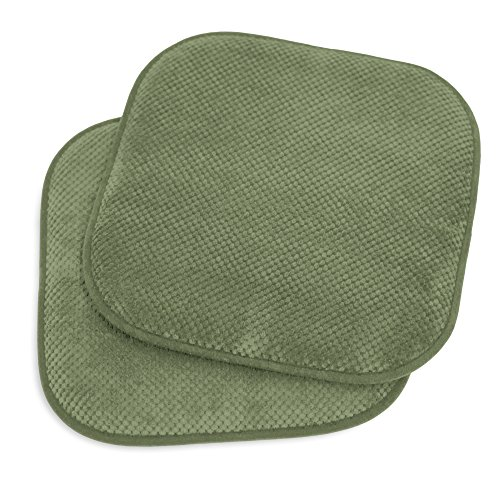 Kashi Home 16″x16″ Memory Foam Chair Seat Cushion Pad for Kitchen, Dining Room, Patio Chairs, Set of 2, Green