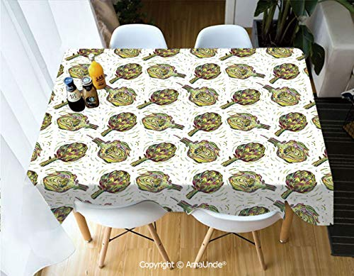 SUPFENG Artichoke Printed Rectangle Washable Picnic Table Cover Gourmet Food Garden Harvest Vegetables Seasonal Vegetarian Options Decorative for Home Cafe Restaurant Beverage Shop from SUPFENG