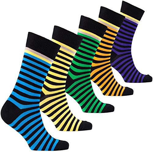 Socks n Socks-Men's 5-pair Luxury Cotton Striped Cool Dress Socks Gift Box