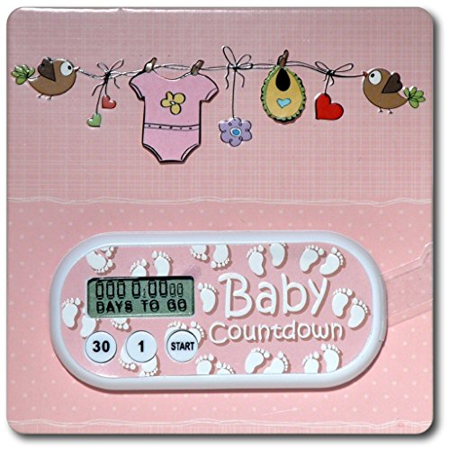 Baby Due Date Countdown Timer on Pink Onsie Card - 4 pack (Due Date Countdown)