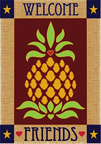 Welcome Friends Primitive Pineapple 42 x 29 Rectangular Burlap Double Applique Large House Flag Review