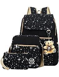 Girls Canvas Backpack Set 3 Pieces Patterned Bookbag Laptop School Backpack (black)