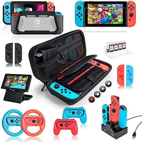 Switch Accessories Bundle for Nintendo Switch, Kit with Carrying Case, Screen Protector, Compact Playstand, Switch Game Case, Joystick Cap, Charging Dock,Steering Wheel for Nintendo Switch, (18 in 1)