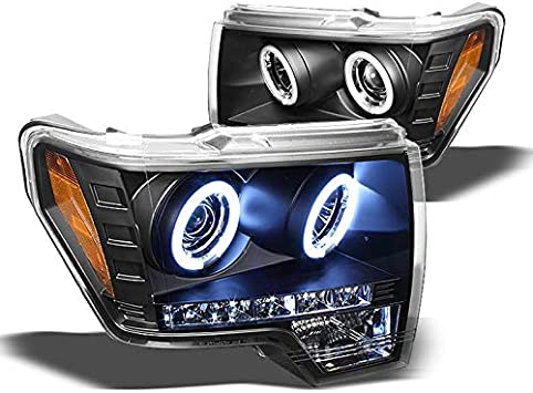 Black 2009-2014 Ford F150 F-150 LED Projector Headlights Left+Right