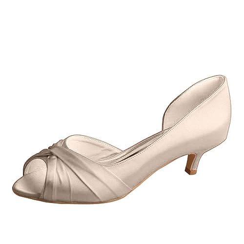 Zapatos de tacón con taco chupete bajo, pliegues de satín ...