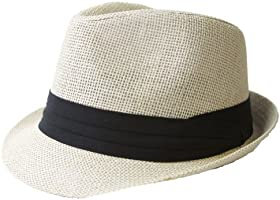 The Hatter Co. Tweed Classic Cuban Style Fedora Fashion Cap Hat, Ivory