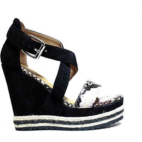 Pelle Zeppa Black Donna Scamosciata Primavera Con 2016 8 Alta Estate Kaobu Le Suede La5 Scarpe Nuova Sandalo Natural Zeppa Collezione Famme qgzwSTz