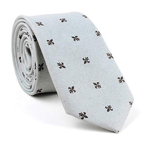 New Cotton Floral Tie 6cm Wide Men's Business Casual Tie Suit Accessories Ties Light Grey