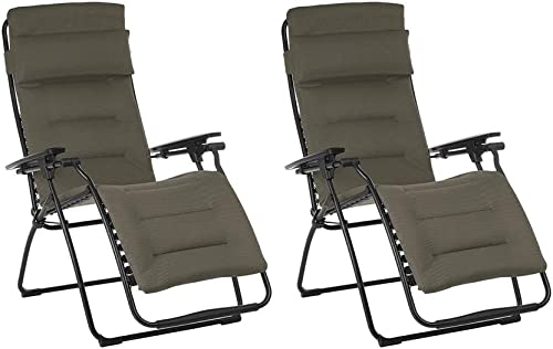Lafuma Futura Air Comfort Zero Gravity Outdoor Recliner Chair, Taupe 2 Pack