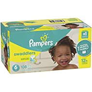 Pampers Swaddlers Disposable Diapers Size 6, 108 Count, ONE MONTH SUPPLY