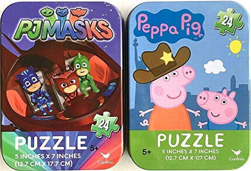 Set of 2 Mini Jigsaw Puzzles: PJ Masks (Catboy Gekko Owlette) and Peppa Pig (24 Pieces each) in Collectible Illustrated Travel Tins (PJ Masks Tin OOP Discontinued)]()