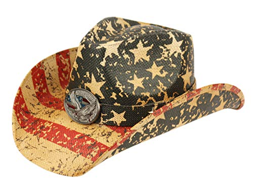 ANGELA & WILLIAM USA American Flag Straw Cowboy Hat w/Shapeable Brim, Red, White, Navy Blue (COW4033)