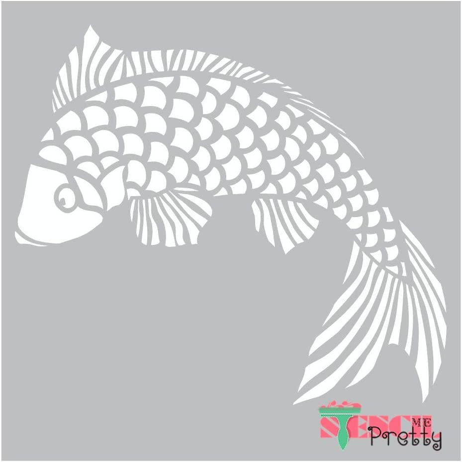 DIY Art Template-XS Chinese Goldfish Stencil | Brilliant Blue Color Material 11 x 9.5