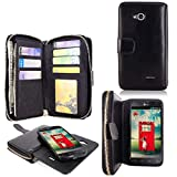 LG L90 Case - Cellularvilla Pu Leather Wallet Flip Bag Pouch Card Slots Holder Pockets & Other Stuff with Magnetic Detachable back Case Cover for LG Optimus L90 Dual D405 D410 T-mobile (Black)
