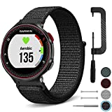C2D JOY Compatible with Garmin FR220/230/235/620/630/735XT Replacement Bands with pins & Removal Tools Sport Loop Band Soft Breathable Nylon Weave with Hook&Loop Fastener - 11# Black, M