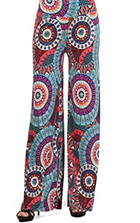 Sugar Rock Paisley Retro Palazzo Pants Fold-Over Waist Wide Leg in Turquoise