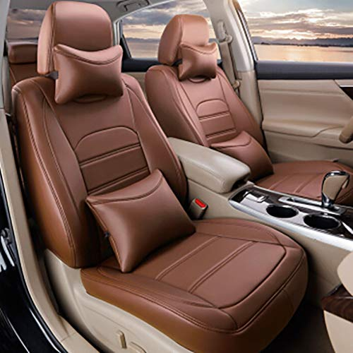 (Gaoye Car Seat Cushion, 4 Seasons Universal Five-seat Universal All-Around Artificial Leather Material, Available in A Variety of Colors (Color : Light Coffee))