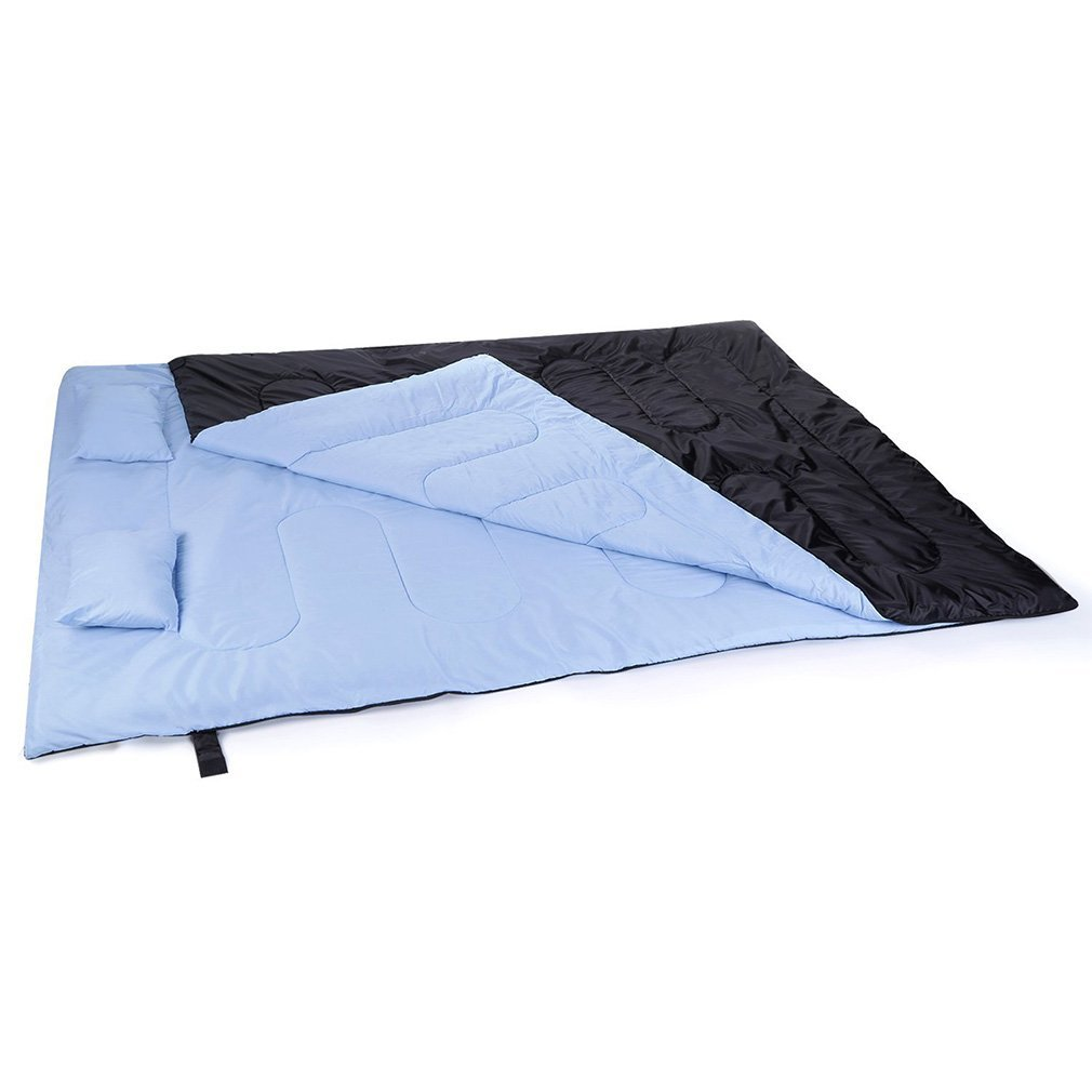 Outad - Saco de dormir doble, impermeable, color negro y azul product image