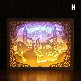 SHENGNONG Marco Papercut Cajas de luz Caja de sombra 3D Luz LED ...