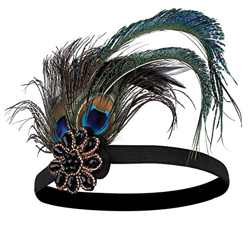 BABEYOND 1920s Flapper Peacock Feather Headband 20s Sequined Showgirl Headpiece (Style-3)