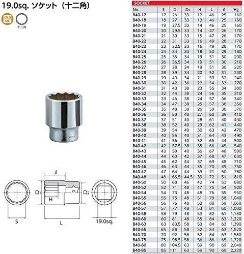京都機械工具(KTC) ソケット 12角 B40-27 27×全長:51×差込角:19.0mm