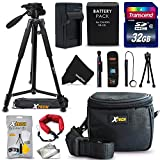 "Ultimate 20 Piece Accessory Kit for Canon Powershot SX60 HS, SX50 HS, SX40 HS, G1X, G16, G15 Digital Cameras Includes: 32GB High Speed Memory Card + 1 High Capacity NB-10L / NB10L Lithium-ion Battery with Quick AC/DC Charger + 60"" Inch Full Size Tripod"