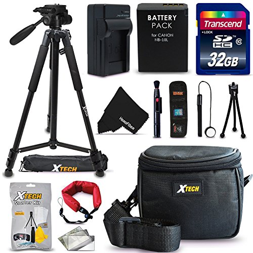 "Ultimate 20 Piece Accessory Kit for Canon Powershot SX60 HS, SX50 HS, SX40 HS, G1X, G16, G15 Digital Cameras Includes: 32GB High Speed Memory Card + 1 High Capacity NB-10L / NB10L Lithium-ion Battery with Quick AC/DC Charger + 60"" Inch Full Size Tripod + a Water Resistant Padded Case + Universal Card Reader + Flexible Mini Table Tripod + Memory Case Wallet Holder + Screen Protectors + Deluxe Cleaning Kit + Lens Cap Keeper + Ultra Fine HeroFiber Cleaning Cloth"