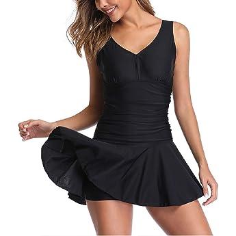 DELIMIRA - Bañador con Falda Trajes de Una Pieza Bikini Tallas Grandes para Mujer Rojo Oscuro 38: Amazon.es: Ropa y accesorios