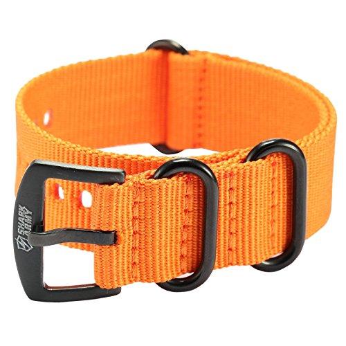 Shark Army Orange Nylon Sport Military Ourdoor Watchband Watch Strap Band WTL069