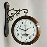 CC Wood Double Sided Clock Personality Decorative Wall Clock Muted Timepieces for Living room Bedroom , brown