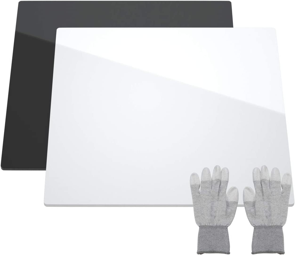 NIUBEE Acrylic Reflective Display Board for Photo Background Shooting Tables (12x12 Inch, Black + White)