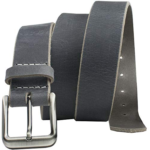 Smoky Mountain Distressed Leather Belt - Nickel Smart - Gray Full Grain Leather Belt with Nickel Free Zinc Buckle - 36