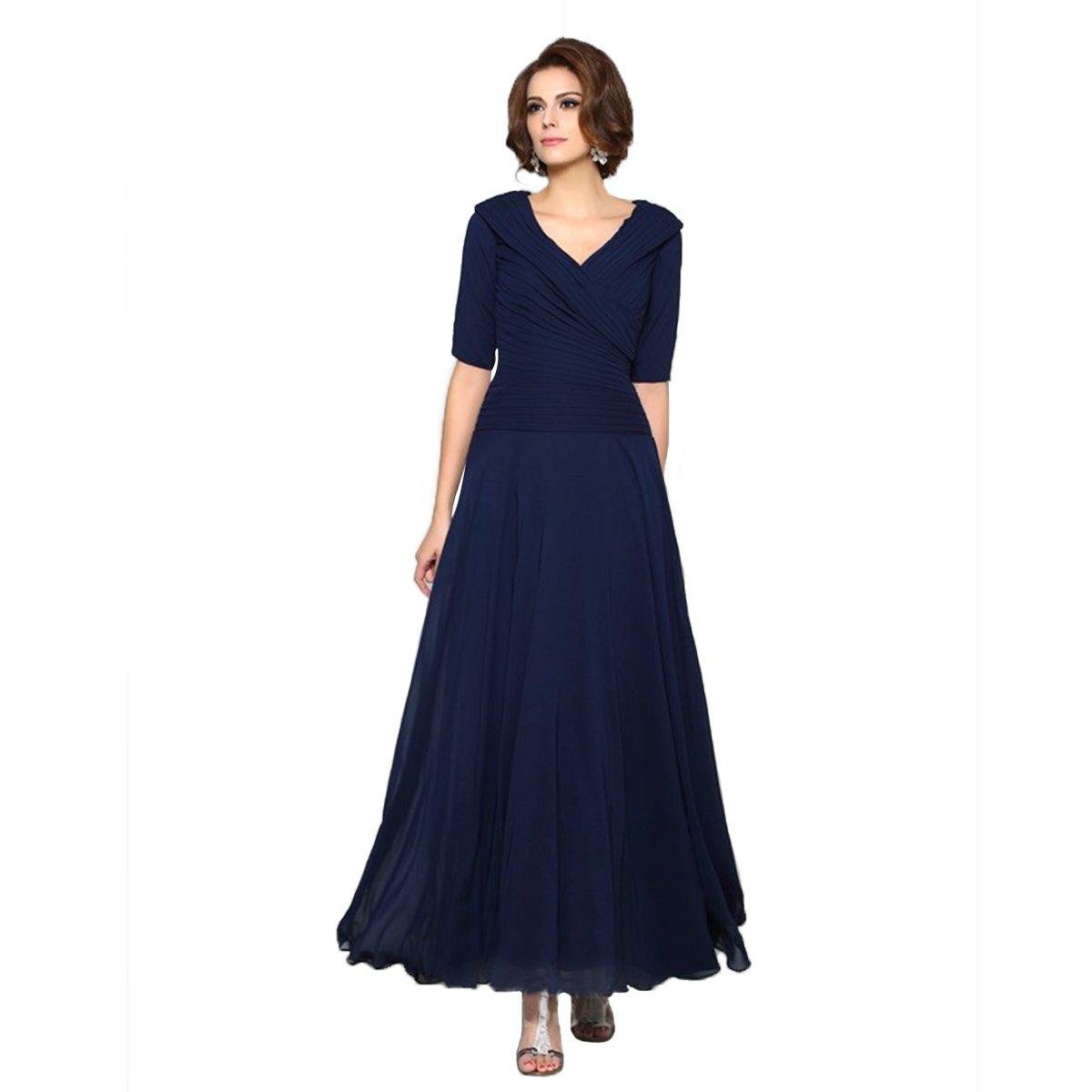 Landress A-Line V-Neck Chiffon Mother of The Bride Dresses Ankle Length(12,Dark Navy)
